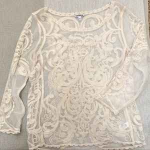 Express Lace Baroque Mesh Blouse